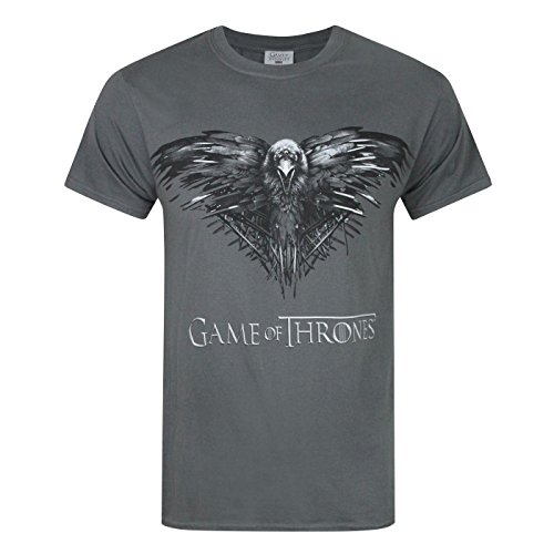 Game Of Thrones Juego de Tronos - Camiseta Oficial con Cuervo de Tres Ojos para Hombre (2XL/Carbón)