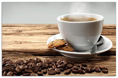 Den Heißen Herd (Wallario Herdabdeckplatte/Spritzschutz aus Glas, 1-teilig, 80x52cm, für Ceran- und Induktionsherde, Motiv Heiße Tasse Kaffee mit Kaffeebohnen)