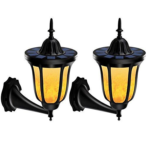 yiiyaa Solarbeleuchten LED Wandleuchten Wandlaterne Gartenleuchten Gartenbeleuchtung Wasserdicht Flackernde Flamme Outdoor Dekoration (2 Stück)