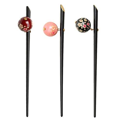 Gazechimp 3 Stück Acryl Sakura Flower Ball Haarnadel Haar Stick Japanischen Kanzashi