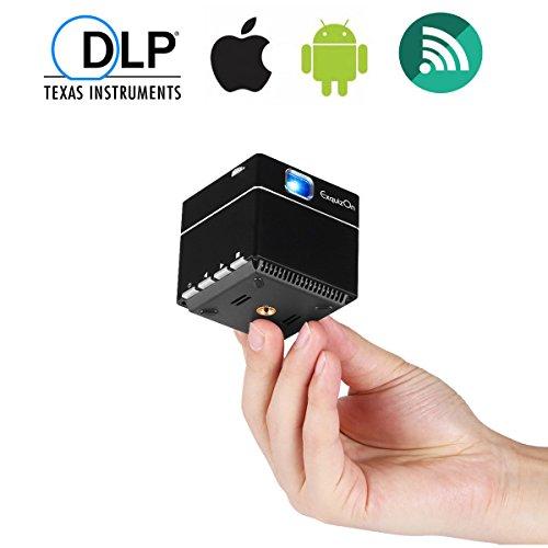 ExquizOn Beamer DLP WiFi, Mini Video Projektor 1080P HD, S6 Pico Tragbar, 2500mAH Wiederaufladbar, inkl. Stativ, HDMI Micro SD DC, Fussball Heimkino für Smartphone PC Tablet Familie Sitzung