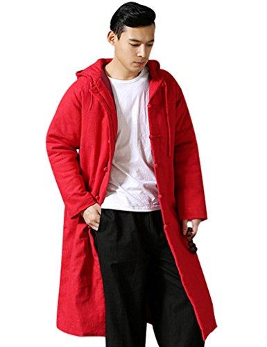 Youlee Herren Winter Baumwolle Leinen Mantel mit Kapuze Rot