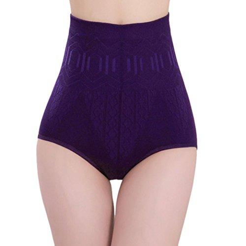 Lolittas Mutande cotone,intimo seamless,Controllo Shaper corpo Pantaloni a vita alta Slip dimagrisce i pantaloni (Taglia Unica, viola)