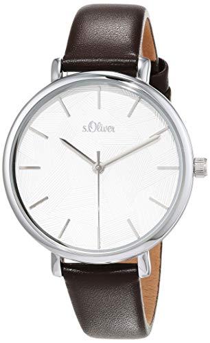 s.Oliver Damen Analog Quarz Uhr mit Leder Armband SO-3736-LQ