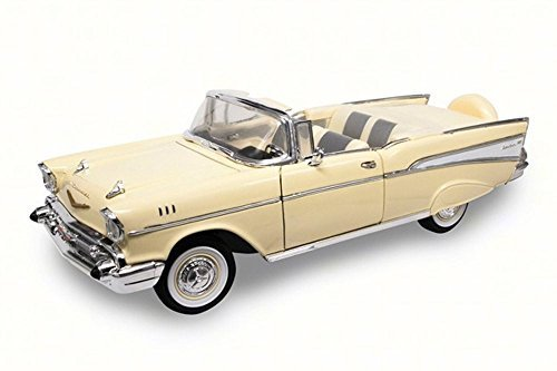 1957 Chevy Bel Air Convertible, Cream - Lucky 92108 - 1/18 Scale Diecast Model Toy Car by Road Signature