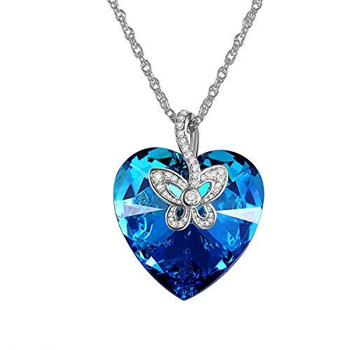 Aroncent Collana donna cristallo Swarovski elementi pendente cuore dell'oceano blu farfalla cambiamento colore mosaico zirco
