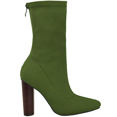 Femmes Tricoté Bottine Élastique Talons Blocs Hauts Célébrité Chaussures Pointure Kaki Vert Tricot