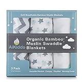 AiKiddo Bambú Mantas de Muselina Unisex CuddleBug| Paquete de 3 | Tamaño Grande 122x122cm | Multiuso Mantas Suaves de Lactancia, Paño de Arrullar, Sabana Encimera