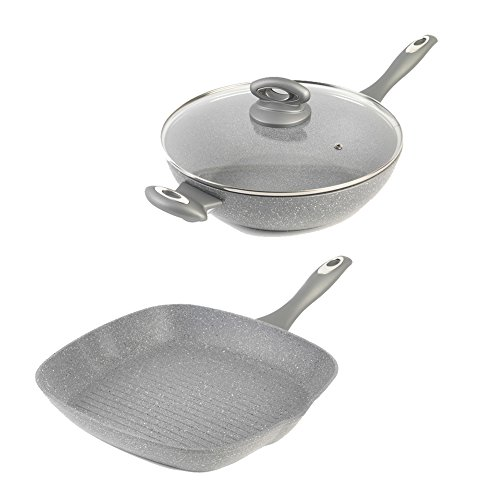 Salter Marble Collection 28cm Griddle Pan and 28cm Wok