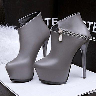 Moda Donna Sandali Sexy donna tacchi tacchi inverno / Round Toe Dress Stiletto Heel Zipper nero / blu / marrone / grigio a piedi Brown
