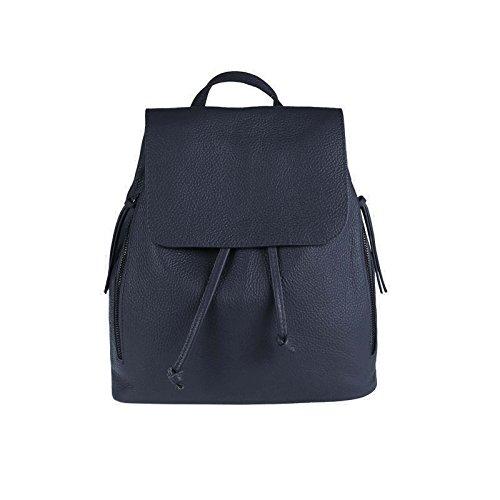 OBC Made IN Italy Damen Echt Leder Rucksack Cityrucksack Lederrucksack Tasche Schultertasche Ledertasche Stadtrucksack Rindsleder Handtasche Daypacks Backpack (Dunkelblau)