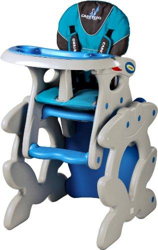 Spieltisch Hochstuhl (2 in 1 Kombi Hochstuhl Baby Kinder Babyhochstuhl Kinderhochstuhl Tisch Spieltisch (Blau))