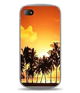 PrintVisa Designer Back Case Cover for Blackberry Q10 (Scenic Design Of Coconut Trees And Sun Set)