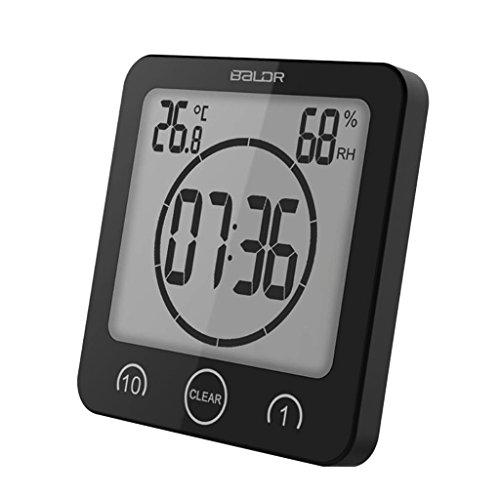 Hergon Groß LED Digital Thermo-Hygrometer,Feuchtigkeitsmesser mit Timer Uhr Dusche Uhrm,Hygrometer Luftfeuchtigkeit, Raum Thermometer 4.53'' (Schwarz) - Lcd Dusche Uhr