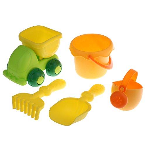 MagiDeal 5pcs/ Set Kinder Sandspielzeug Set - Inkl. Gießkanne, Muldenkipper, Rechen, Schaufel und Sand Eimer