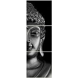 Conjunto Decoración para Puerta Pared Impresión Mapa Lona de Cartel Cuadro Arte Pintura Regalo - Buda Cara 3, 50x50cm