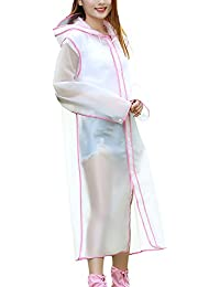 8LX0713-02 Chubasquero Mujer Transparentes Impermeable Chaqueta con Capucha Viajes Al Aire Libre Camping Waterproof