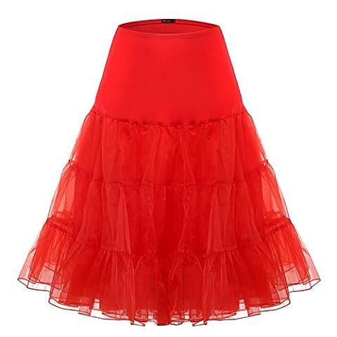 BAOMOSI - Jupon - Plissée - Femme - rouge - X-Large