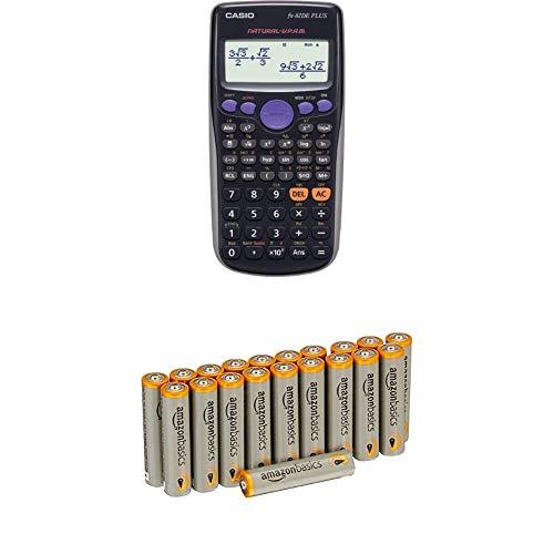 CASIO FX-82DE Plus wissenschaftlicher Taschenrechner / Schulrechner mit 252 Funktionen und natürlichem Display, Batteriebetrieb mit AmazonBasics Batterien