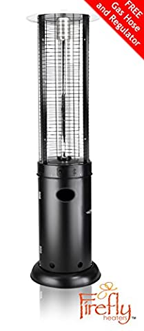 Firefly 15kW Samos Outdoor Gas Patio Heater in Black With Hose and Regulator