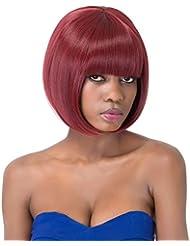 aicos Sweet vin rouge Bob style court droit complet de Bang femmes perruque synthétique