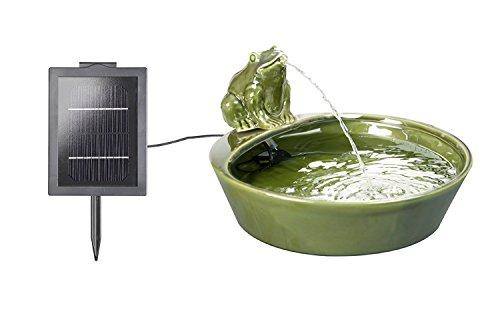 Primrose Solar-Wasserspiel, aus Keramik, mit Frosch-Figur