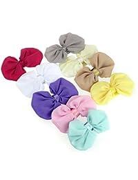 Emitha 9 Paquete recién nacido y bebés arco del pelo de la venda elástico bebé turbante pelo niñas diadema arco