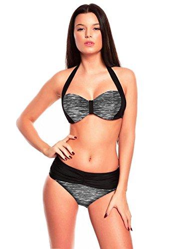 Figurbetonte Bademode! Sportlich Chic! Soft Cup Neckholder Bandeau Bikini verschiedene Farben Größen Trendfarben f5400 Bikini Gray Print B5(1382)