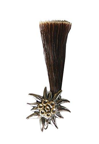 Hutanstecker | Hutabzeichen | Hutschmuck | Anstecker - Edelweis mit Gamsbart Imitat - Handbemalt - 7,5 x 3 cm
