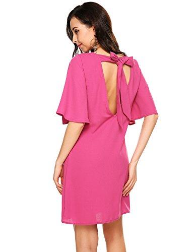 Zeagoo Damen Elgant Sommerkleid mit Kurzarm A Linie MiniKleid Partykleid  Rückenfrei RoseRot