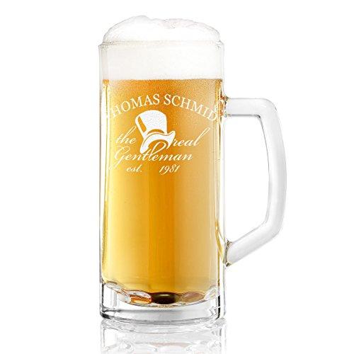 Bierkrug mit Gravur eines Namens und Jahreszahl – Bierseidel mit Motiv Real Gentleman Zylinder 0,3l