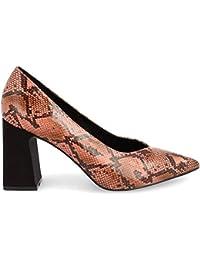 Zapato de tacón Ancho y Punta Fina. con Estampado de Serpiente. Altura de tacón