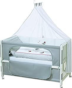 roba Roombed, Babybett 60x120 cm 'Adam & Eule', Beistellbett zum Elternbett mit kompletter Ausstattung