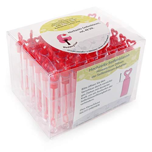 Rot Natürliche Seife (WeddingTree Premium Seifenblasen Set in rot- 48 teilig mit Herzgriff - herzallerliebst für Hochzeit Taufe Geburtstag Goldene Hochzeit Verlobung Valentinstag Gastgeschenk Party)