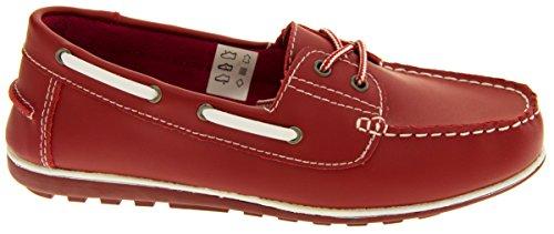 Shoreside Oxford Femmes Chaussures Bateau En Cuir Rouge - rouge