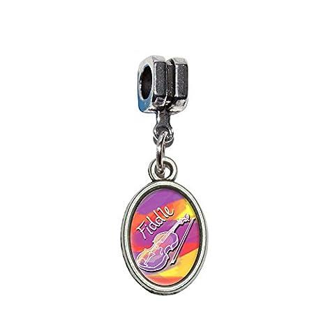 Cordes–VIOLON Musical de Bluegrass Country italien européenne Euro Style Perle Charm Bracelet–Compatible avec Pandora, Biagi, Troll, chamilla 18cm, Autres