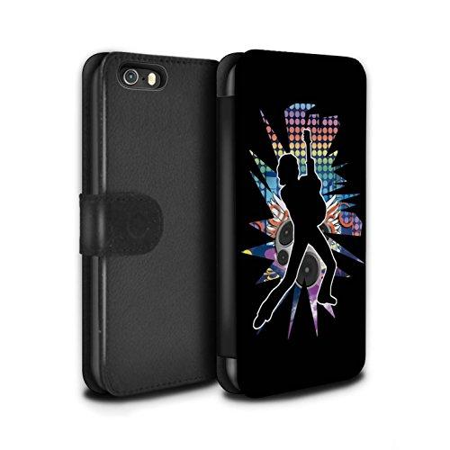 Stuff4 Coque/Etui/Housse Cuir PU Case/Cover pour Apple iPhone SE / Hendrix Noir Design / Rock Star Pose Collection Pencher Noir
