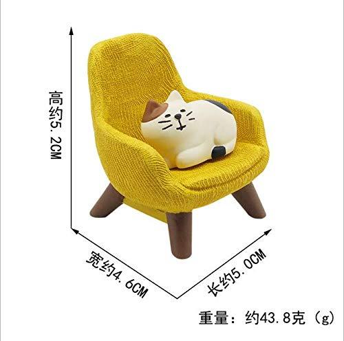 LAMEIDA Tischdeko Miniatur Katze mit Sessel niedlich Ornament Puppenhaus Puppenstube Fee Zubehör - Miniatur-katzen