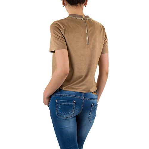 Damen Shirt, JCL WILDLEDEROPTIK SPITZEN SHIRT, KL-51601 Beige