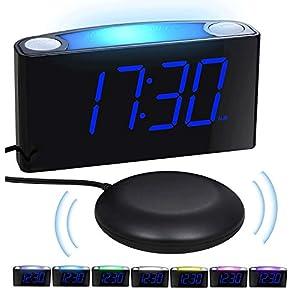 VibrationsWecker, Digital Gehörlosen Wecker mit 7-Farbiges Nachtlicht, Große LED-Anzeige, 0-100% Helligkeitsregler, 2 USB-Ladeanschlüsse, 12/24 H, lauteste Wecker für Schwere Schwellen, Schlafzimmer
