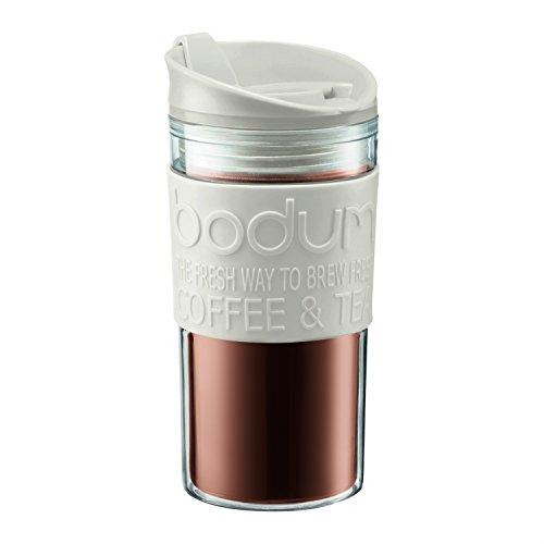 Bodum 11103-913S Mug de Voyage, Couvercle à Clapet, Blanc, Transparent, 0,35 L, Plastique, 8 cm