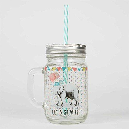 """Trinkglas """"Party Elefant"""" mit Schraubdeckel und Strohhalm"""