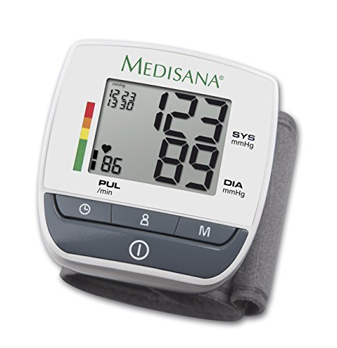 Medisana 51070 Sfigmomanometro da Polso, 60 spazi di memoria per ciascuno dei 2 utenti, Indicatore di aritmia, Voci display: sistolica, diastolica, pulsazioni, data e ora