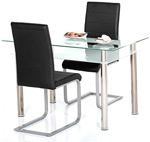 agionda ® Esstisch Kay + Stuhlset Jan Piet ® 2er Satz hochwertiges PU Kunstleder in schwarz