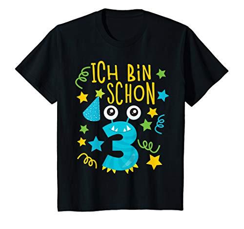 Kinder Tolles Design süßes Monster zum 3. Geburtstag Jungs/Mädchen T-Shirt (Und Blue-outfits White Mädchen Red)