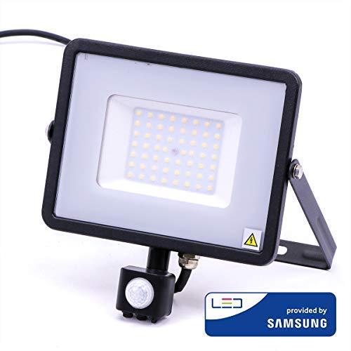 V-TAC LED Flutlicht mit Sensor Samsung Chip, 6400K, 4250lm, IP65, 50 Watt, A+, Kunststoff, W, weiß -