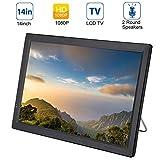 14 Zoll Tragbarer DVB-T/T2 Fernseher, 1280x800 HD TFT LCD Bildschirm Mini TV Mediaplayer mit HDMI/VGA/AV/USB/3,5mm Audio Jack, Eingebautem Lautsprecher, Analog Digital TV für Unterweg -