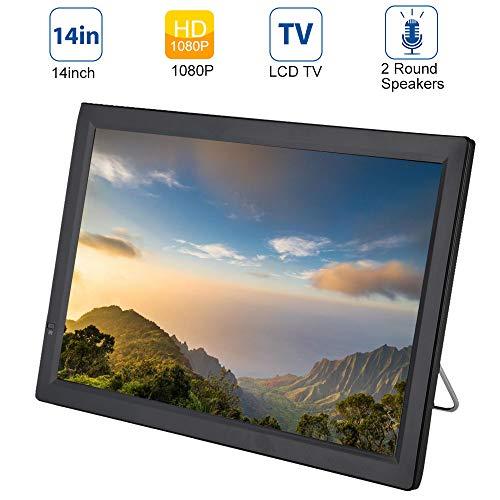 14 Zoll Tragbarer DVB-T/T2 Fernseher, 1280x800 HD TFT LCD Bildschirm Mini TV Mediaplayer mit HDMI/VGA/AV/USB/3,5mm Audio Jack, Eingebautem Lautsprecher, Analog Digital TV für Unterweg
