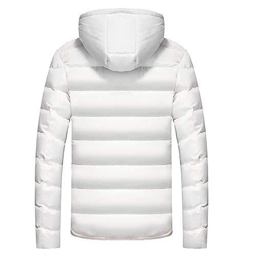Preisvergleich Produktbild AIni Herren Beiläufiges Warm Hooded Winter Farbwechsel Reißverschluss Mantel Outwear Top Bluse Warm Jacke Coat Mäntel 2019 Neuheit(XXL, Weiß)
