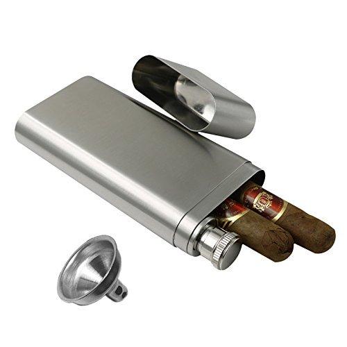jujor Cigar Tube mit Flachmann 2Oz Edelstahl und Trichter Set